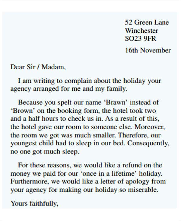 Example Of Formal Complaint Letter