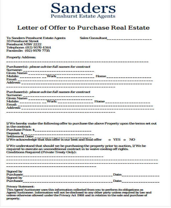 real estate offer letter template free1