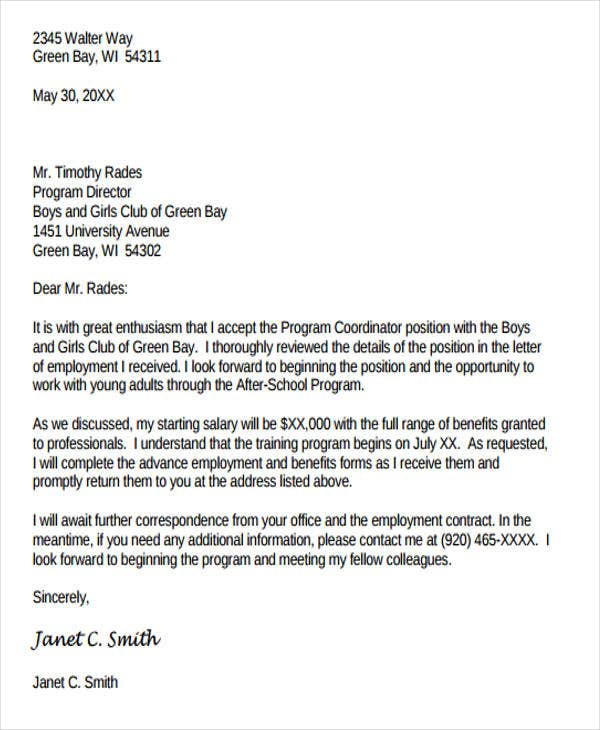 sample acceptance of employment offer letter