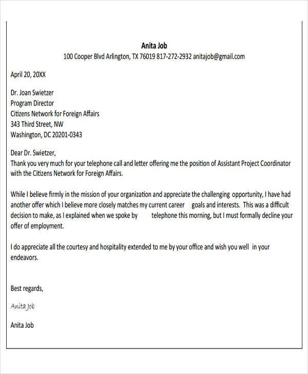 sample decline job offer letter