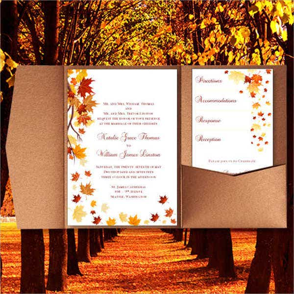 autumn pocket wedding invitations