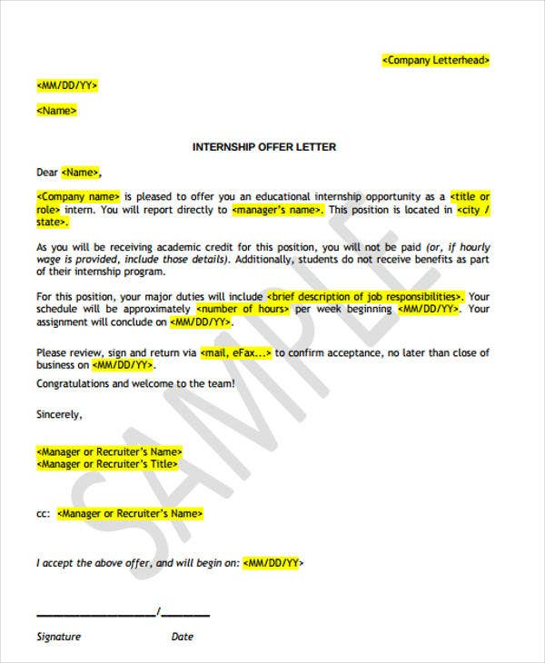 internship job offer letter template1
