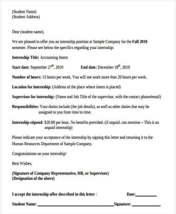 Internship Offer Letter Construction Labor Cover Letter Example
