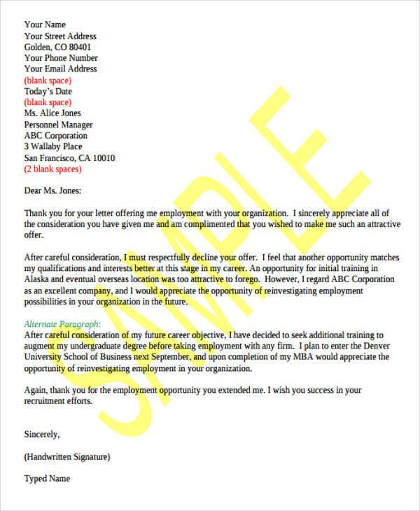 offer of employment rejection letter