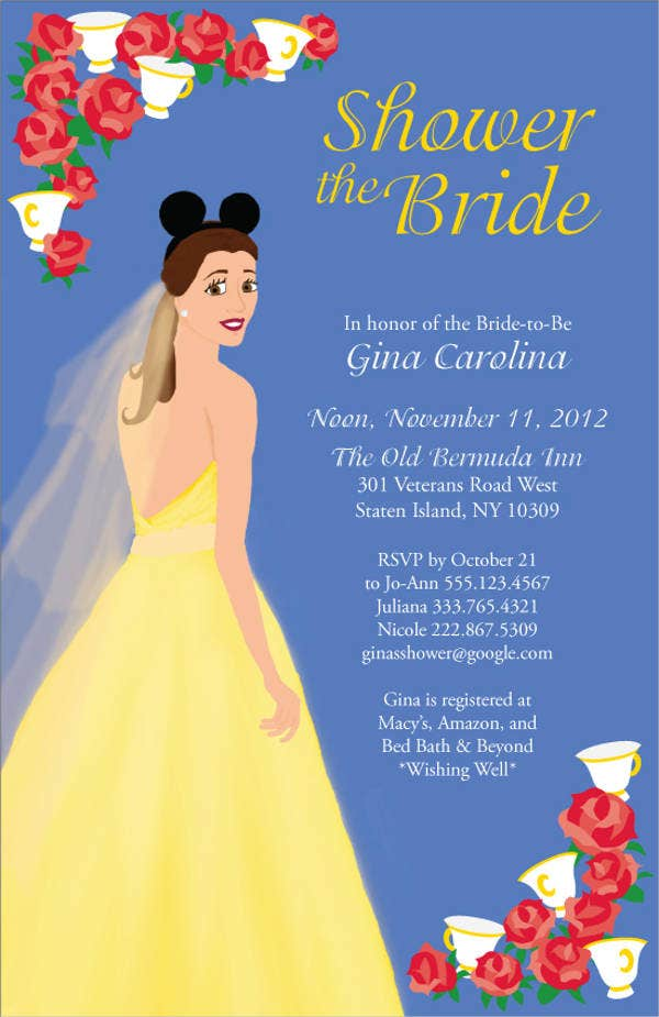 disney wedding shower invitations
