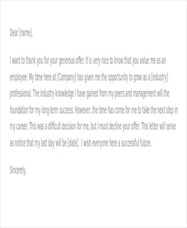 counter offer decline letter template