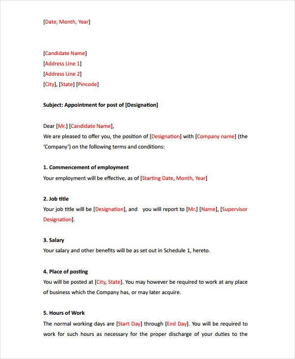 employee appointment letter format