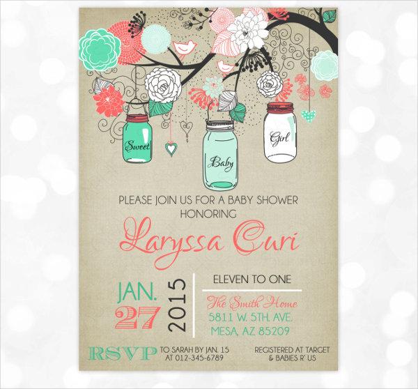 mason jar baby shower invitation