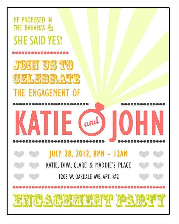 Free Printable Engagement Party Invitation  Free Printable Engagement Invitations