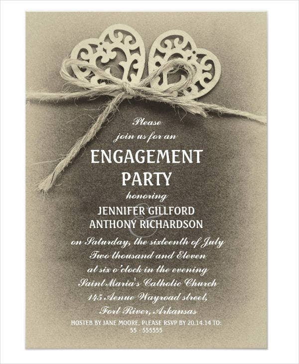 Printable Vintage Engagement Party Invitation  Free Printable Engagement Invitations