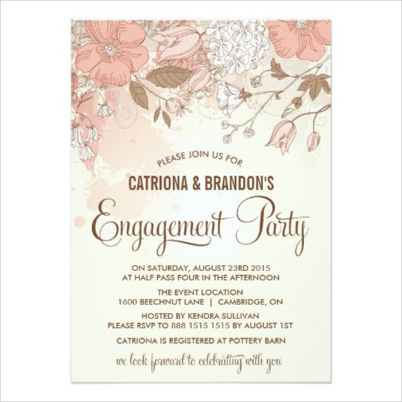 Printable Vintage Engagement Party Invitation Card  Engagement Invitations Online Templates