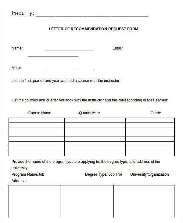 Teacher Letter of Recommendation Request Form