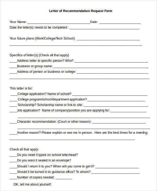College Letter Of Recommendation Request Form