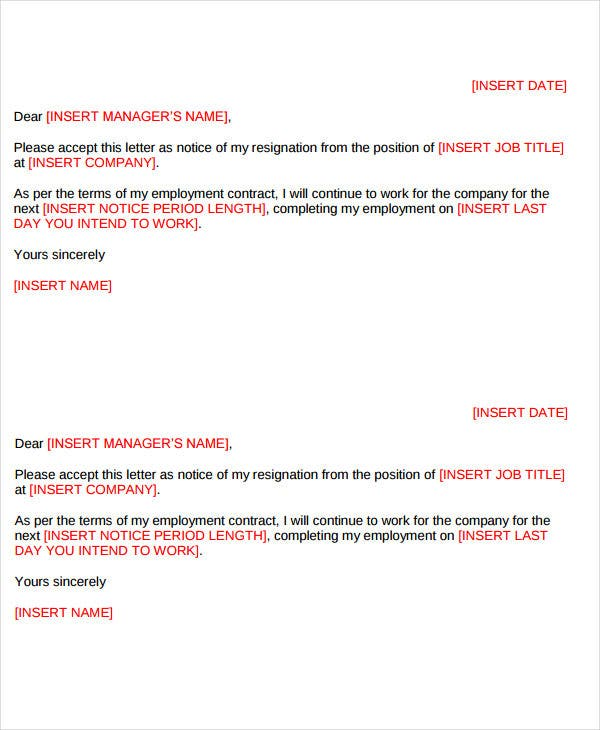 formal short resignation letter