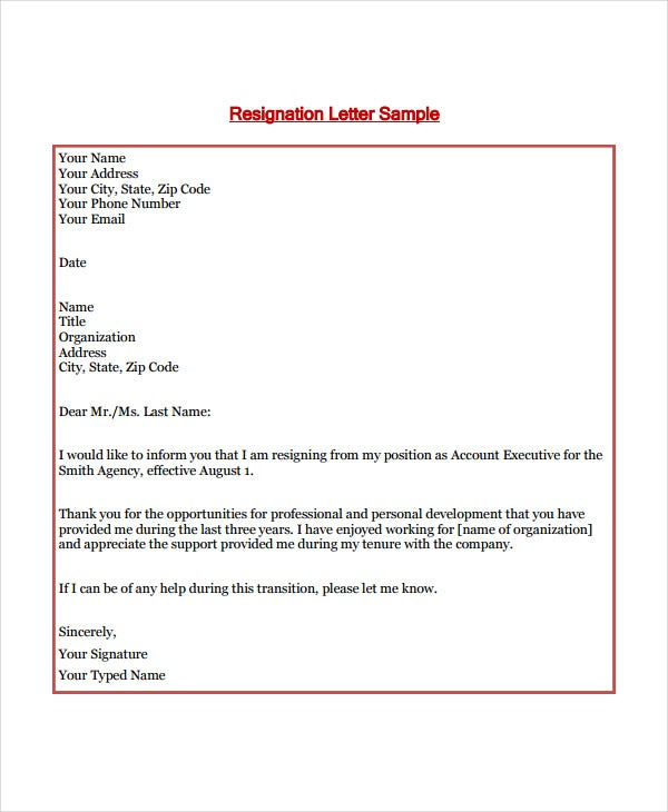 short resignation letter in pdf