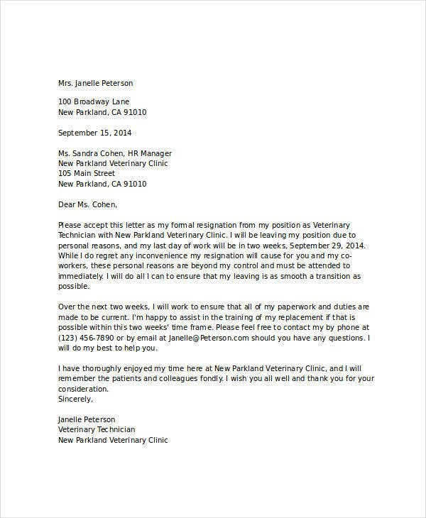 8+ Short Resignation Letter Templates - Free Sample, Example ...