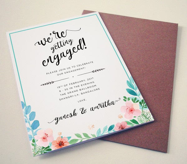 40 Printable Engagement Invitations Templates – Engagement Card Invitation