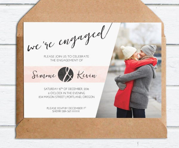 personalized photo engagement invitation