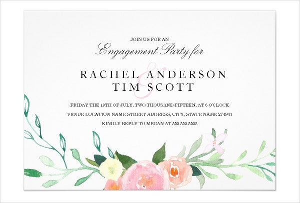 Watercolor Engagement Party Invitation  Engagement Party Invitation Template