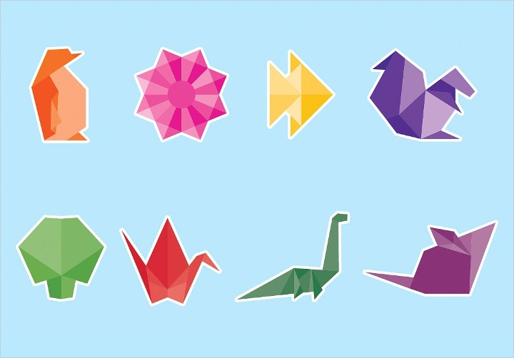origami vector icon set