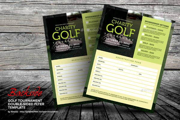 golf tournament double sided flyer