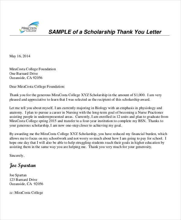 Nurse Scholarship Thank You Letter