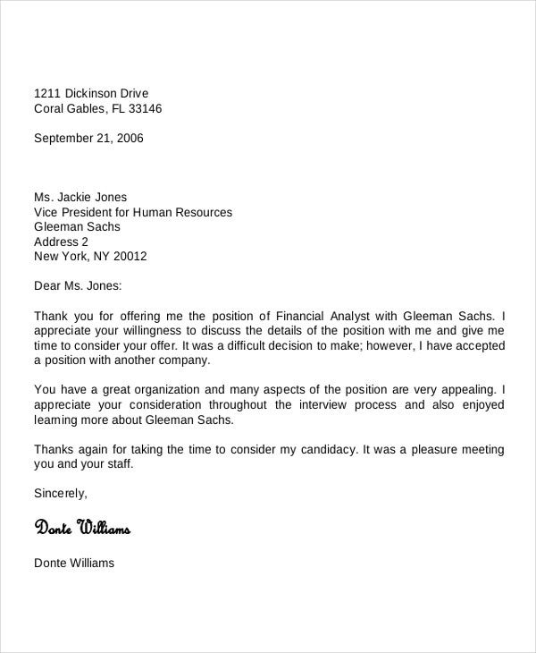 formal offer rejection letter