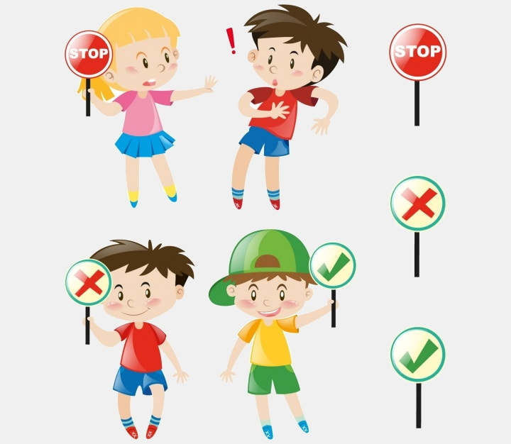 kids and signals vector