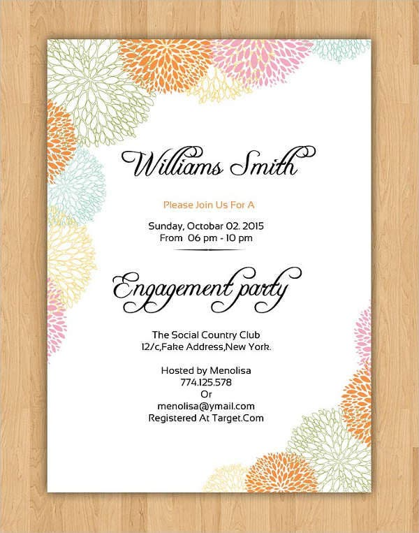 Sample Engagement Party Invitation  Format Of Engagement Invitation