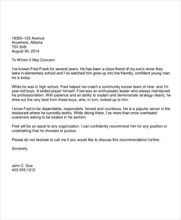 formal character reference letter