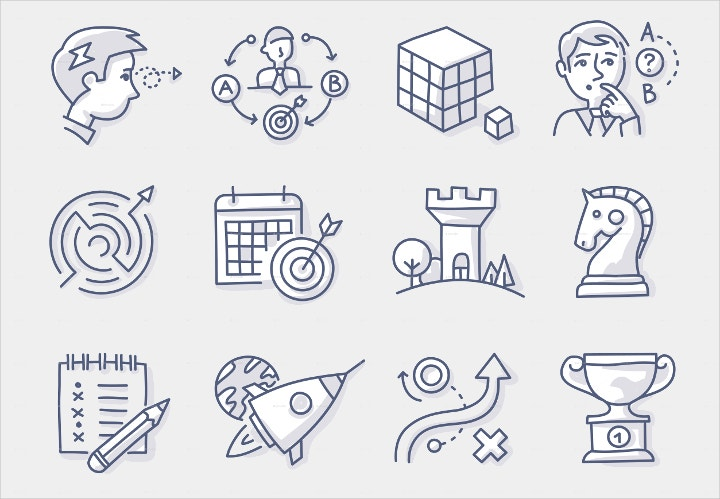 strategy building doodle icons