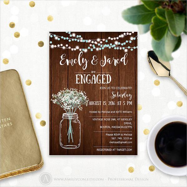 sample rustic engagement invitation