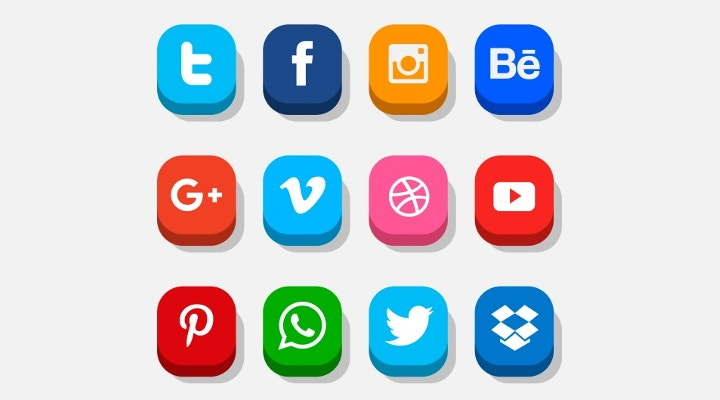 colorful social media buttons