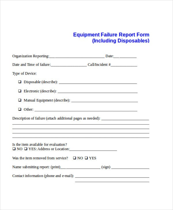 equipment failure incident report
