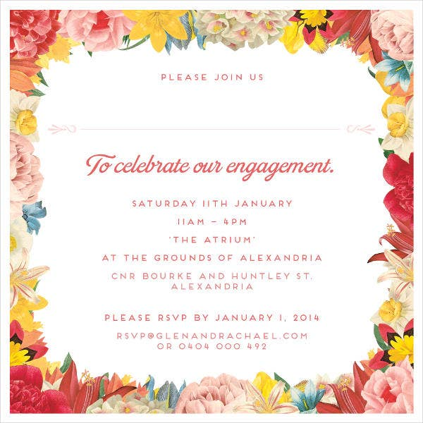 Free Engagement Invitation Card  Engagement Card Template