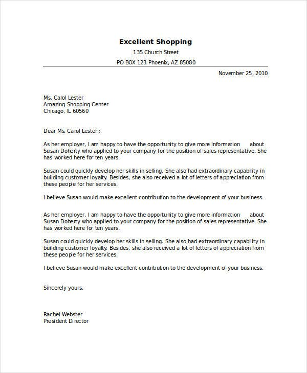 formal employment reference letter