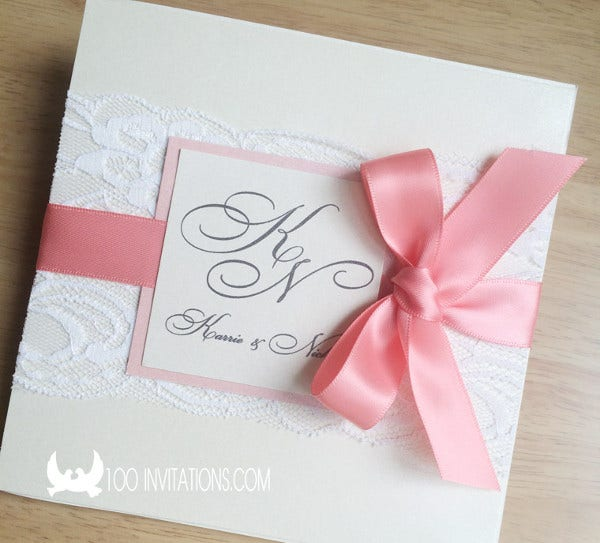 -Lace Pocket Wedding Invitation