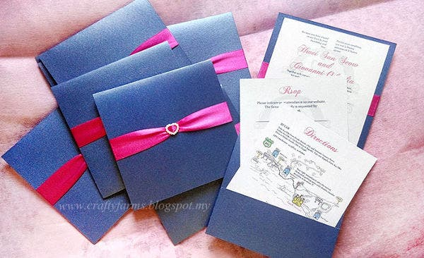 -Handmade Pocket Wedding Invitation