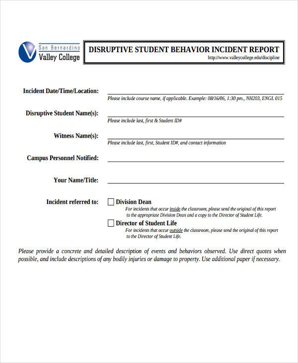 student behavior incident report