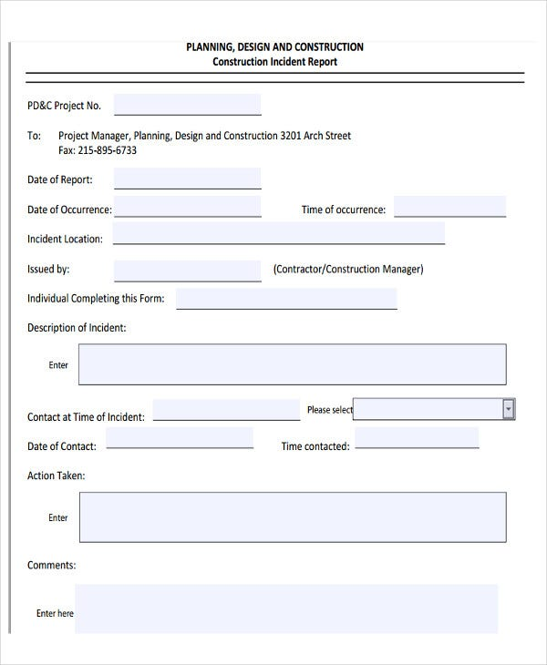 27 Incident Report Template in PDF – Construction Site Report Template