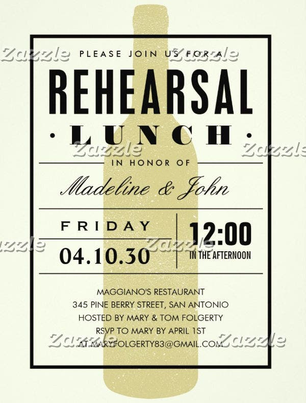 -Wedding Rehearsal Lunch Invitation