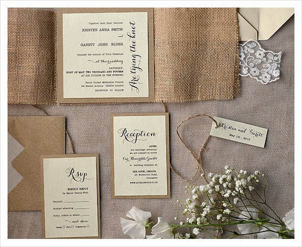 -Homemade Burlap Wedding Invitation