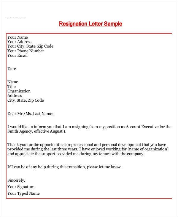 Job Resignation Thank You Letter  Professional Thank You Letter