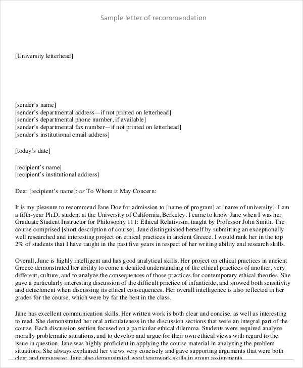 Reference Letter Examples   Free Word Pdf Documents Download