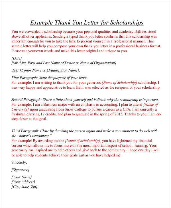 Sample ThankYou Letters 54 Free Word PDF Documents Downloads – Thank You Letter for Scholarship Award