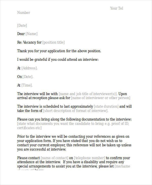 interview appointment letter sample