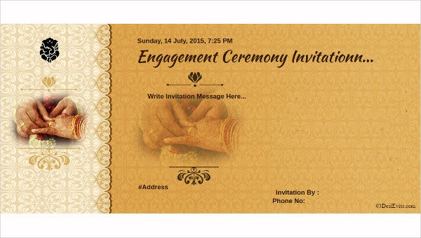 Engagement Ceremony Invitation Card Format