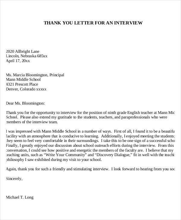 Teacher Interview Letter