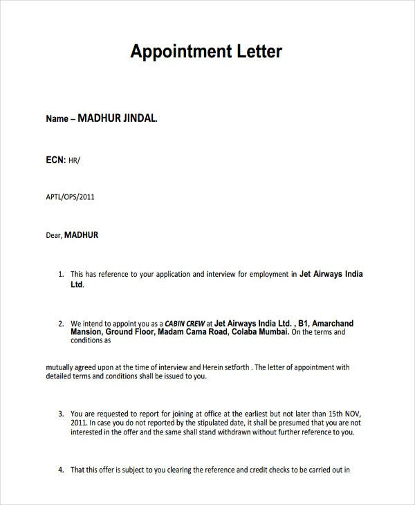 employment interview appointment letter