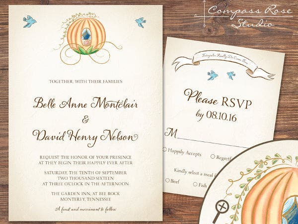 -Cinderella Fairytale Wedding Invitation